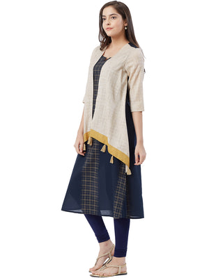Black and Beige Layered Kurta