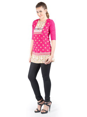 Pink Color Printed 3/4Th Sleeve Tunic