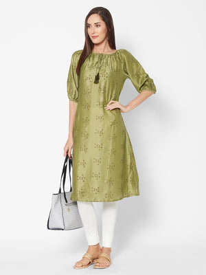 Fusion Beats Green Embroidered Kurta