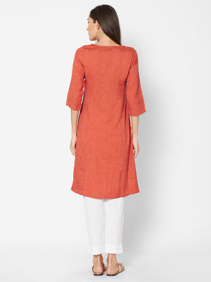 Fusion Beats Orange Boat Neck Kurta