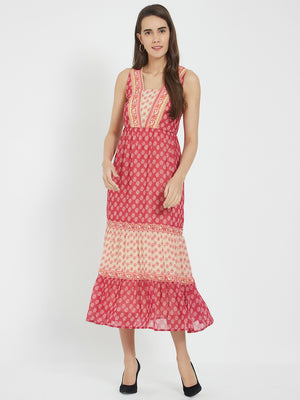 Red Printed Dress With Flounce At Hem