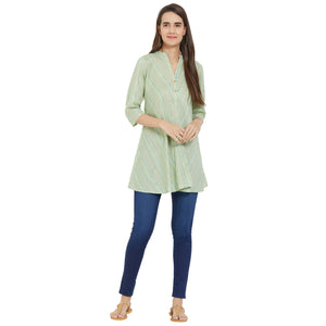 Fusion Beats Sage Stripes Tunic