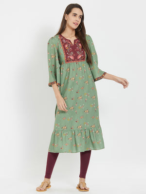 Olive Printed Kurta With Maroon Yoke