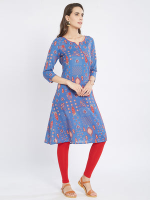 Blue Printed Kurta With Side Tie Up