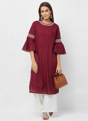 Fusion Beats Maroon Flared Sleeves Kurta