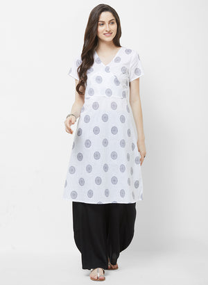 Fusion Beats White Pintd Short Sleeves Kurta
