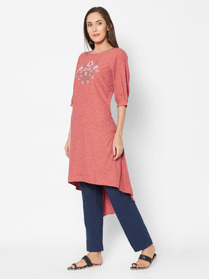 Fusion Beats Pink Floral Embroidered Kurta