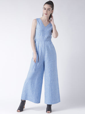 Blue V Neck Jumpsuit With Belt