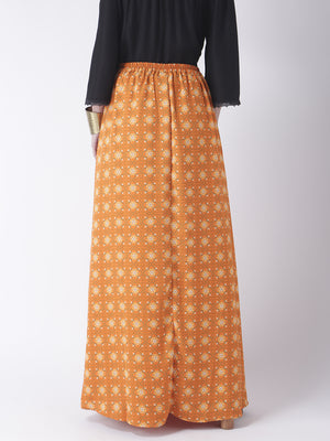 Orange Printed Long Skirt