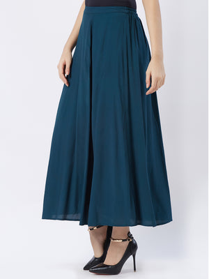 Emerald Green Solid Flared Skirt