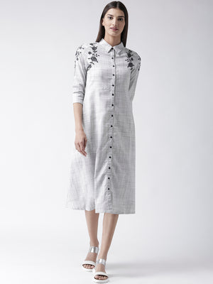 Grey Embroidered Shirt Collar Dress