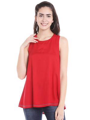 Red Solid Top With Cross Back