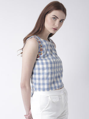 Blue Crop Top With Back Bow