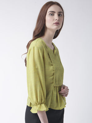 Green Pleated Yoke Top With 3/4Th Sleeves