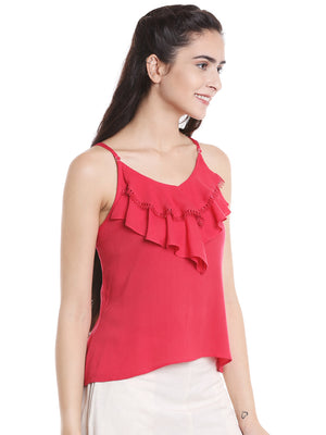 Pink Solid Top With Ruffles