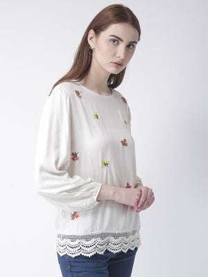 Off White Top With Floral Embroidery