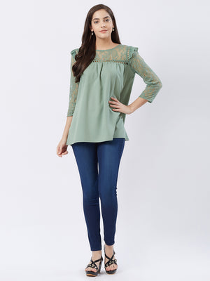 Sage Green Solid Top With Lace Sleeves