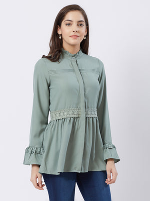 Sage Green Solid Top With Turtle Neck