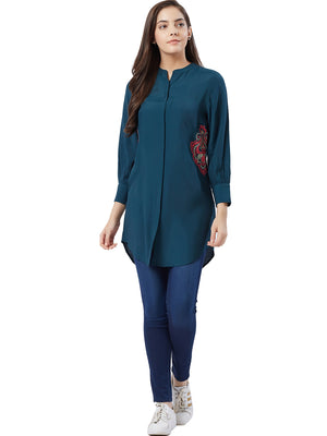 Mandarin Collar Long Top With Cuff Sleeves