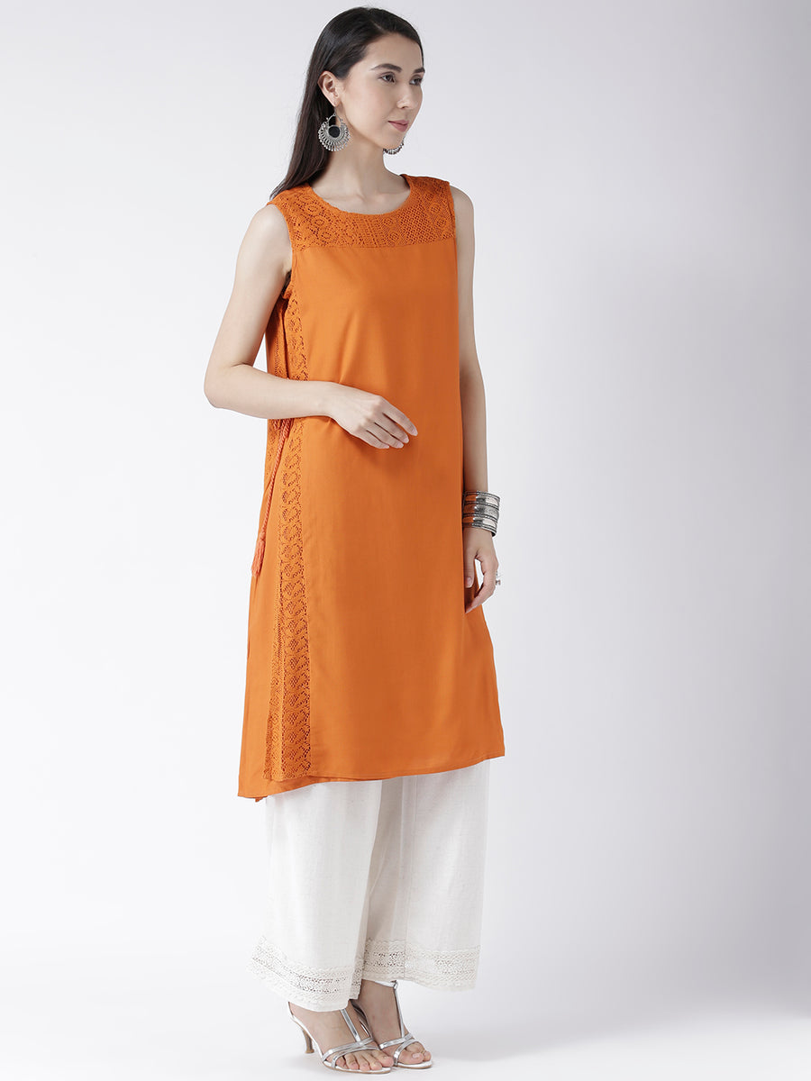 Orange Long Kurta With Tie Up At The Side
