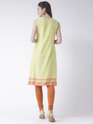 Lime Printed Long Kurta