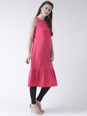 Pink Sleeveless Long Kurta