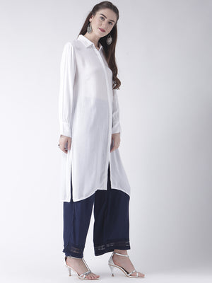 White Shirt Collar Full Sleeves Kurta