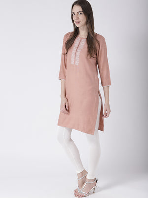 Peach Kurta With 3/4Th Sleeves
