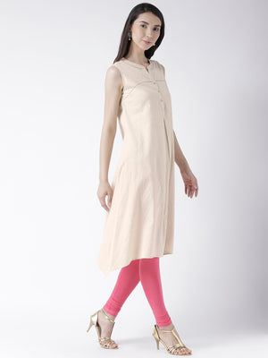 Beige Solid Sleeveless Long Kurta