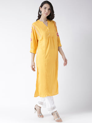 Yellow Long Kurta With Embroidered Sleeves