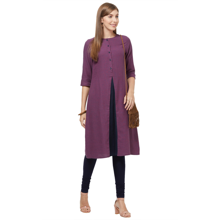 Purple Boat Neck Kurta