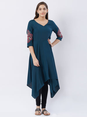 Emerald  Green Asymmetrical Kurta With Embroidery On The Sleeves