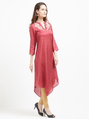 Rose  Asymmetrical Kurta With Embroidered Neck