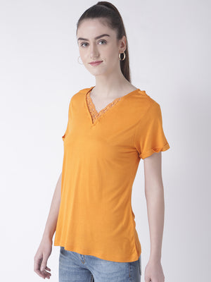 Orange Solid Tee With Lace V-Neck