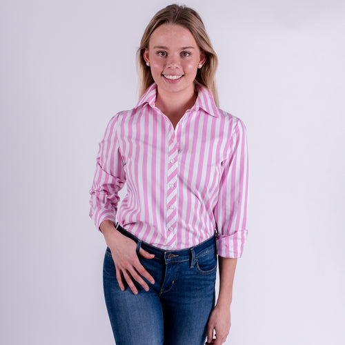 pink stripe cotton shirt