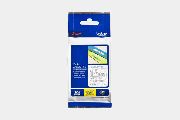 Accessories - Brother TZe135 White On Clear Tape