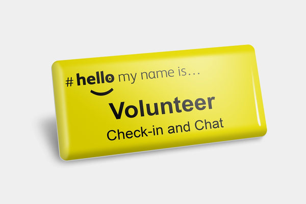 Name Badges - Check-in And Chat Volunteer NHS Name Badge