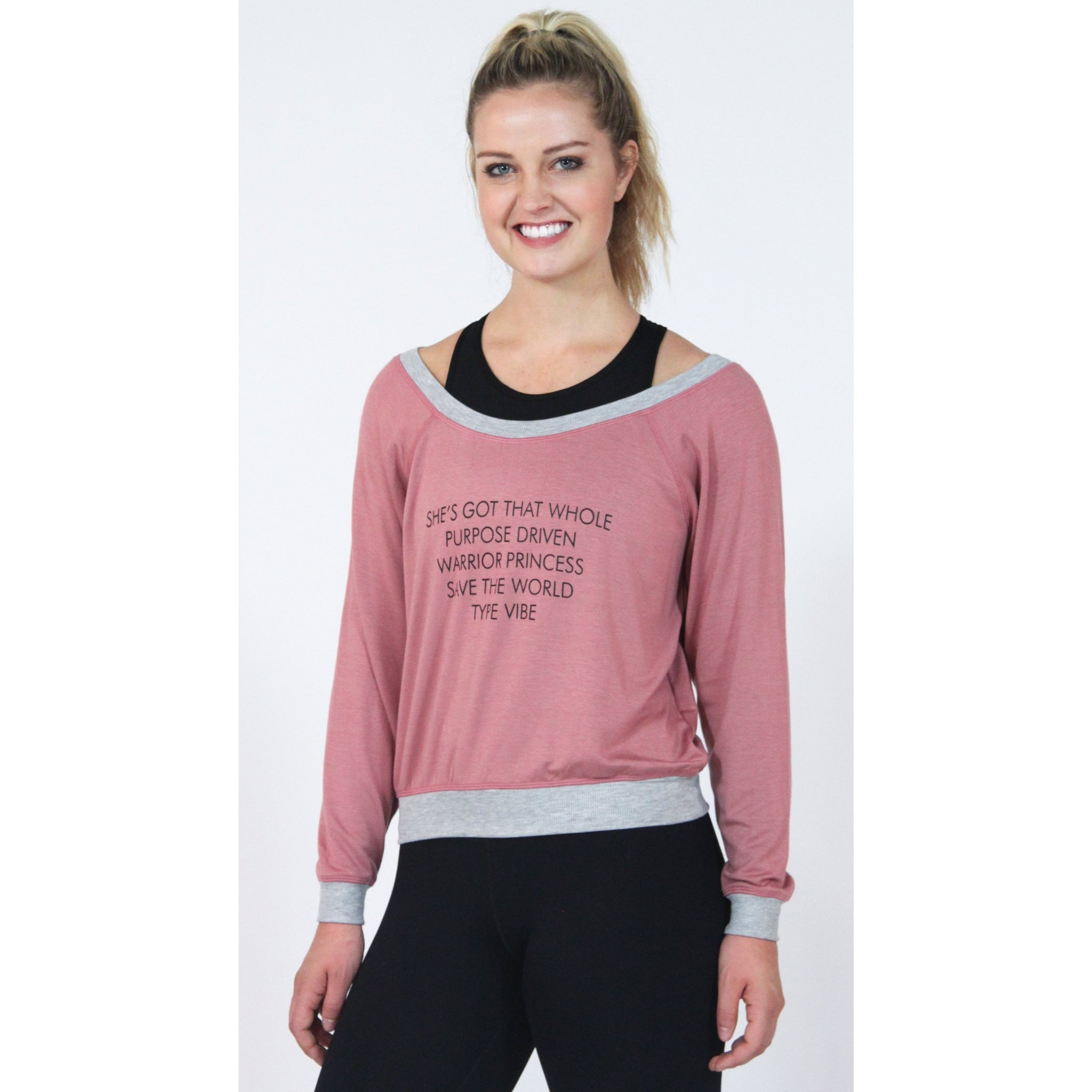 Warrior Princess Sweater - Burgundy Pink - Brooke Taylor Active