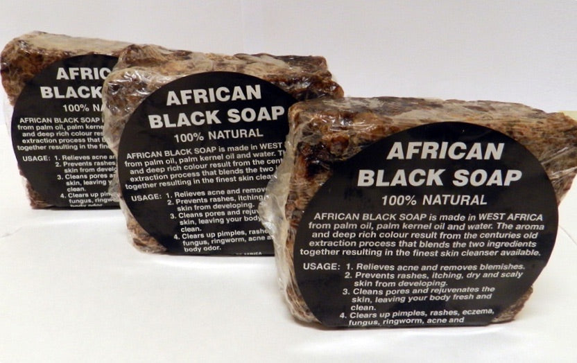 African Raw Black Soap bar and African liquid black soap