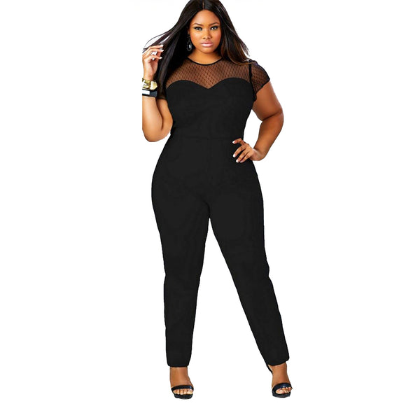 Sexy Round Collar Cap Sleeve Lace Spliced Plus Size Overalls for Women