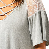Plus Size Criss Cross Drop Shoulder Tunic T-Shirt