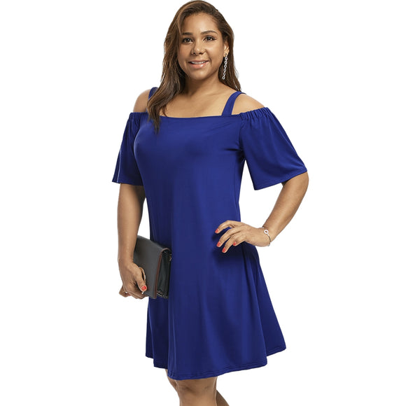 Plus Size Cold Shoulder Half Sleeve Dress - Blue