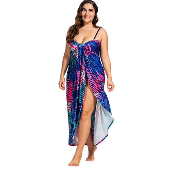 Tropical Leaf Print Plus Size Cover Up Maxi Dress