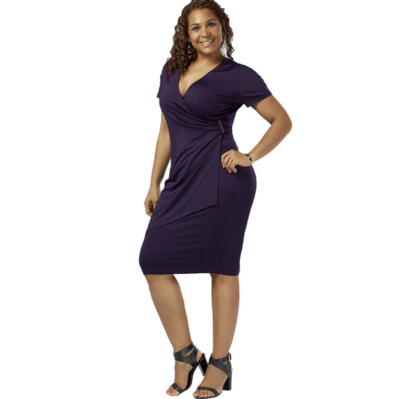 Plus Size Overlap Plain Tight Surplice V Neck Sheath Dress