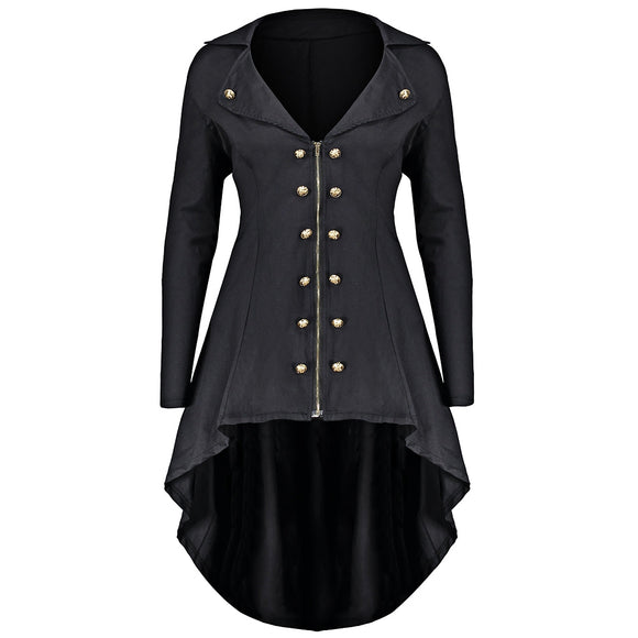 Double Breast Plus Size High Low Coat - Black