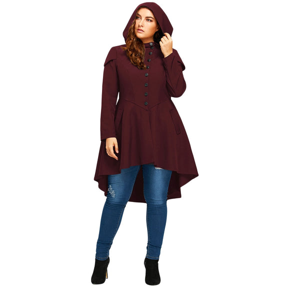 Plus Size Lace Up High Low Hooded Coat - RED WINE