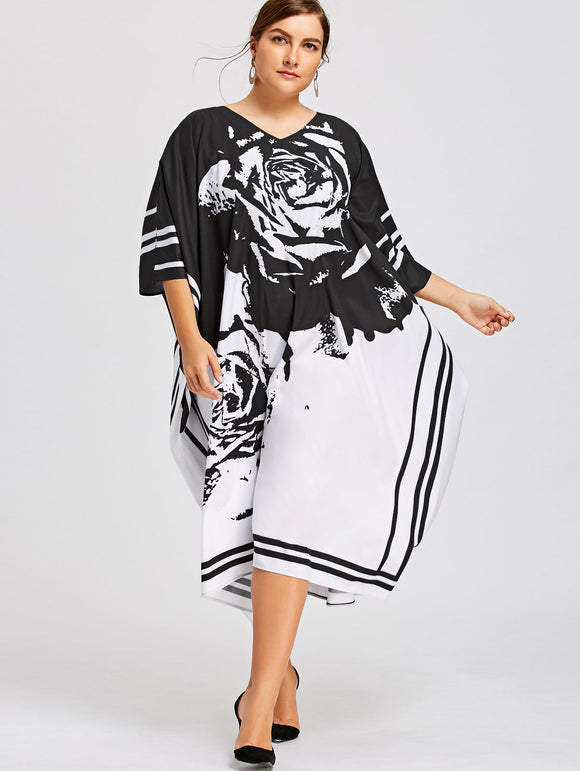 Plus Size Batwing Sleeve Printed Midi Dress