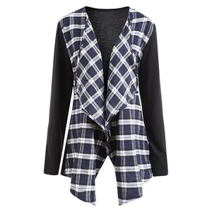 Plus Size Plaid Panel Waterfall Jacket
