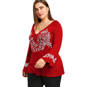 Plus Size V Neck Bell Sleeve T-shirt
