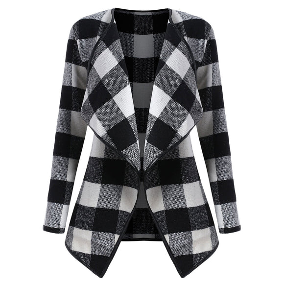 Plus Size Drape Plaid Coat - black and white